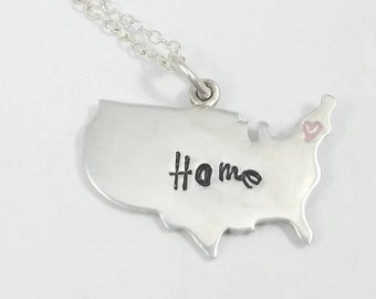 United States Necklace, Home Necklace, Hand Stamped Jewelry, Personalized Jewelry, Sterling Necklace, American Necklace, US Necklace
