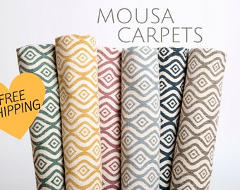Cotton Carpets FAST FREE SHIPPING Elegant Handmade Modern Living Room Rug Wave Design Home decor Ideas and Original Gift