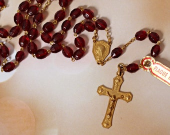 Old catholic rosary from France gold plated / french manufacture / crucifix cross Jesus Christ / religious gifts presents / vintage 70s