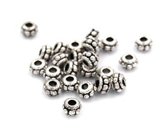 100pcs,Antique Silver Beaded Tibetan Silver Spacer Beads, Lead Free,