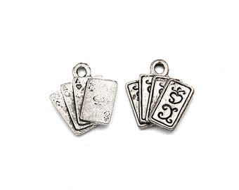 2pc, Playing cards charm, Pewter
