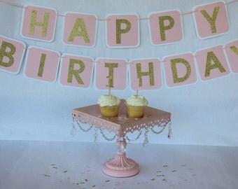 First Birthday Banner, First Birthday Party, Pink and Gold Birthday Banner, Pink and Gold Birthday, First Birthday, Pink First Birthday