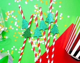 24 Christmas Tree Straws, Christmas Paper Straws, Holiday Straws, Festive Straws, Christmas Party, Christmas Decor, Christmas Toppers