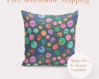 Green Hand Painted Watercolour Spot Cushion Cover, Throw Pillow Cover, New Home Owner Gift, Pillow Cover, Housewarming Gift, Unique Gift
