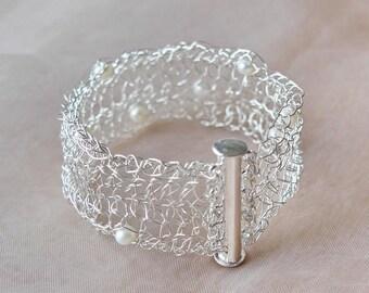 Silver bracelet crocheted with freshwater pearls bridal jewelry crochet bracelet silver silver cuff bracelet
