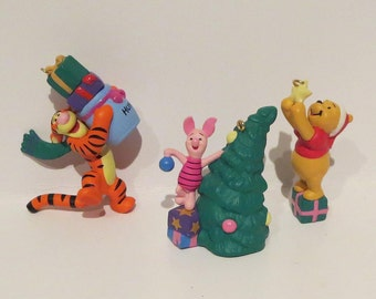 Winnie The Pooh, Piglet and Tigger Vintage Hallmark Mini Ornament Set
