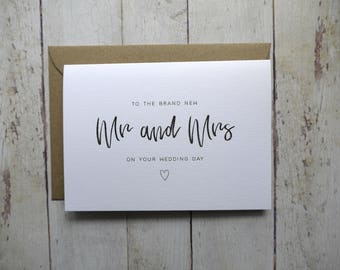 Mr and Mrs Wedding Day card // Congratulations on your wedding day // Card for bride and groom // Wedding card // Friend's wedding day //
