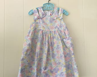1990's light pastel bow summer dress with pockets - size 3t