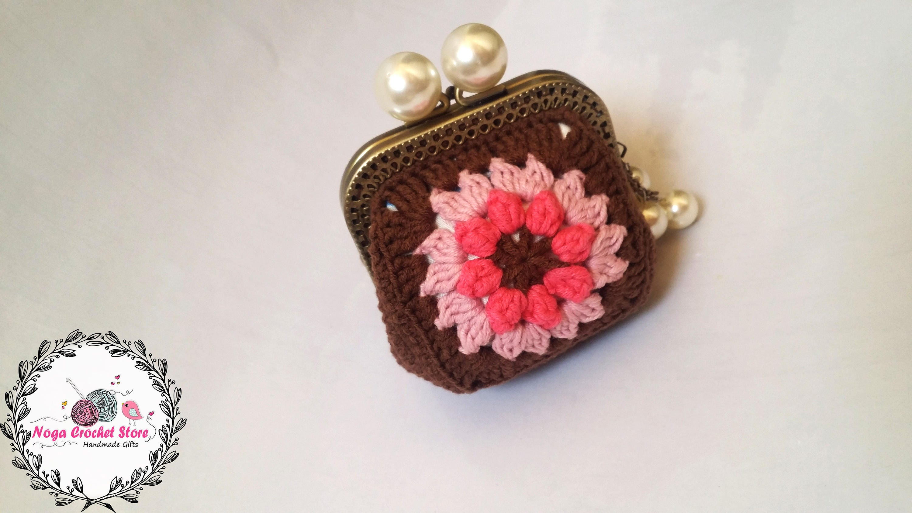 Crochet Square Coin Purse Pink Flower Bag Handmade Brown Pouch