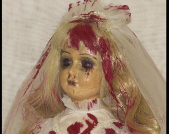 Bleeding Bride Doll Gothic Horror Doll Vampire Doll Zombie Bride Doll