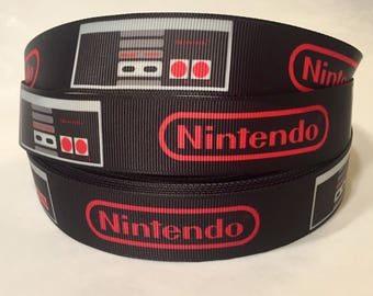 "1/3/5/10 Yards - 1"" Nintendo NES Grosgrain Ribbon"