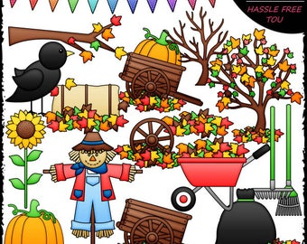 Fall Fun Stuff Clip Art and B&W Set