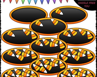 Counting Candy Corn (0-10) Clip Art and B&W Set