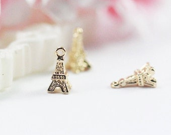 5x10mm 14k Gold plated Paris Eiffel charm
