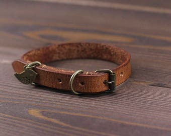 "Brown leather collar for cats and small dogs. Cat collar with charm. Leather collar. Soft cat collar. Cat Collar - 3/8"" Аdjust collar. Gift"