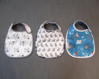 Baby Bib Set - 2 Layer Cotton Flannel - Side Metal Snap