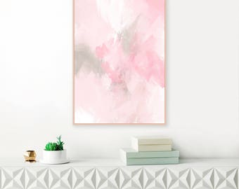 Pink Abstract Painting, Pink and Grey Abstract Art, Large Living Room Print, Extra Large Wall Art Modern Printable, A1 size Art