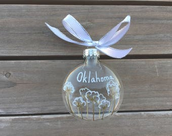 Oklahoma Christmas Ornament, Cotton Field Ornament, Oklahoma Cotton Field, State Ornament, Oklahoma Gift, Glass Everyday Ornament, Christmas