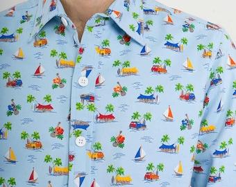 Mens 100% Cotton Long Sleeve Slim Fit Shirt Blue Boat Island Print