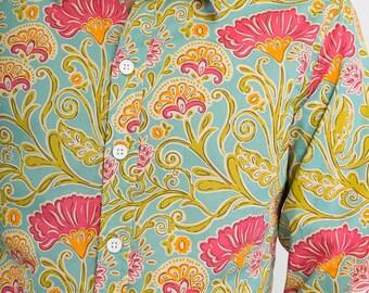 Mens 100% Cotton Long Sleeve Slim Fit Shirt Light Green Pink Floral Flower Print