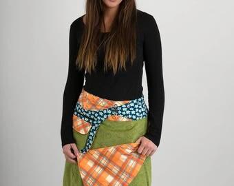 Reversible Green Floral Corduroy Orange Blue Corduroy Skirt Blue green Floral Corduroy Belt with detachable Pocket Long Length