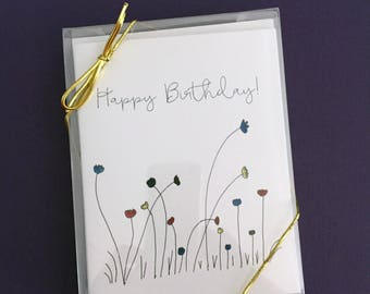 """Gift set box of eight 4.25""""x5.5"""" daisy cards, 2 birthday, 1 of each congrats, get well, thank you, sympathy, thinking of you & good luck"""