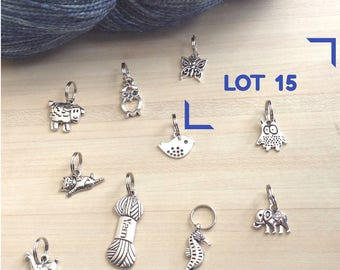 Set of 10 stitch markers for knitting - number 15 - pet theme set
