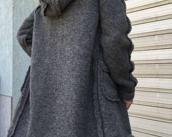 Grey  Wool Coat / Winter Cape Coat / Women Winter Cardigan / Hooded Jacket / Women Wool Vest