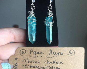 Aqua aura quartz wirewrapped earrings