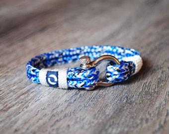 Rope Bracelet, Light Blue Rope Bracelet, Blue Rope Bracelet, Blue Bracelet, Sailor Bracelet, Nautical Bracelet, Nautical Mens Bracelet