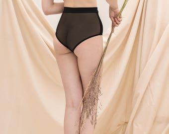 Black Sheer Lingerie Set, See Through Panties, Sheer High Waisted Panties, Soft Bra, Crop top, Mesh Lingerie, Transparent Womens Underwear