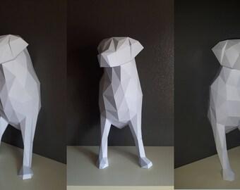 Geometric LowPoly dog (dog Labrador animal Papercraft) DIY kit