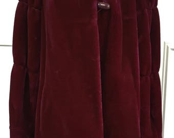 1980s Borgessa Casper Burgundy Faux Fur Coat (Size XL)