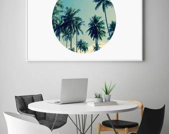 Palm Print, Palm Tree Print, Circle Palm Trees, Coastal Print, Palm Trees Poster, Tropical, Palm Poster, Palms, Printable Modern, Summer Art