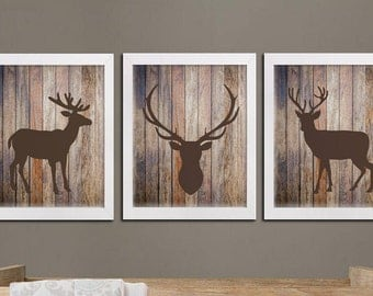 Woodland Deer Rustic Nursery Printable Art Set, Deer And Rustic Wood Wall  Art, Woodland
