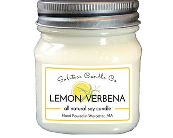 Lemon Verbena Soy Candle | Mason Jar Candle | 8 oz | Wood Wick | All Natural | Hand Poured | Fruit scent | Home Decor