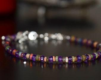 Amethyst and Ethiopian Opal Bracelet~ February Birthstone Bracelet~ October Birthstones~ Dainty Jewelry