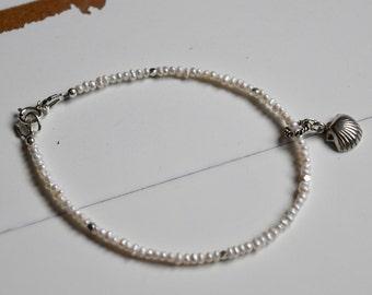 Freshwater Pearls Dainty Bracelet ~ Seashell Bracelets~ Mother's Day Gift Idea~ June Birthstone Jewelry