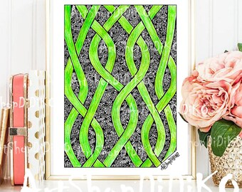 Nature Magic Digital Print, Art Decor, Zentangle Digital Print, Fabrics Patterns, Digital Paper Pack, Relaxin Green Print