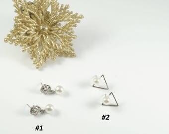 Pearl Silver Earrings Bridal Earrings Cheap Pearl Earrings Bridesmaids Gift Christmas Earrings Christmas Gift Cheap Gifts White Earrings