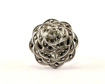Vintage Flower Design Crystal Ring 925 Sterling RG 1666