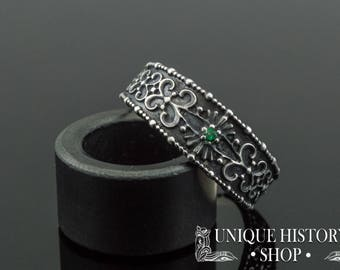 Unique Flower Ornament Ring with Green Zircon - 925 Silver Uniqe Ring