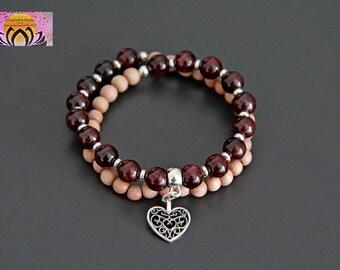 Garnet Rosewood Wrist Mala-Beaded Bracelet-Heart Silver Charm-Mother Maternity Pregnancy Jewellery-Yoga-Boho-Intention Bracelet-Gemstones