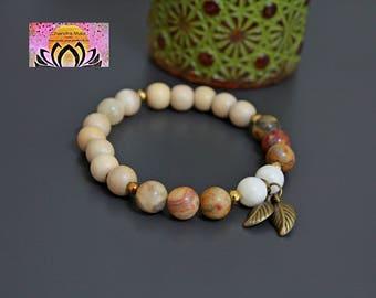 Wood Jade Crazy Lace Agate Bracelet-Beaded Stretchy Bracelet-Wrist Mala-Yoga Bracelet-Boho Chic Elegant Jewellery-Stacking Layering-Gift Her