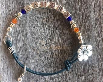 Gators Bracelet, Florida Gators, Spirit Jewelry, University of  Florida Bracelet, Blue & Orange Gator Bracelet, College Jewelry