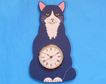 Gray and White Cat Wall Clock