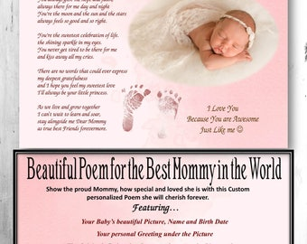 New Mommy Gift, New Mom Gift, Mommy and Me, New Mommy, Poem Baby Boy, Poem Baby Girl, Gift from Baby, Footprints Wall Art, New Mommy Poem