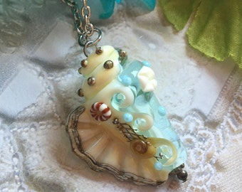 SALE - Pale Aqua Conch Shell Lampwork Pendant, Lampwork Pendant/Necklace, Lampwork Jewelry, Conch Shell Pendant, Mothers Day, Gift For Her