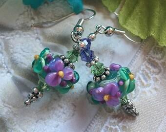 Flower Lampwork Earrings, Pastel Floral Earrings, Mint & Lilac Earrings, Lampwork Jewelry, Gift For Her