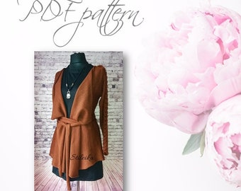Brown cardigan for  women, very easy PDF pattern, knittting by the knitting machine